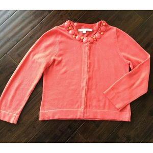 Boden Cotton 2 Orange Bead Neck Crop Sweater
